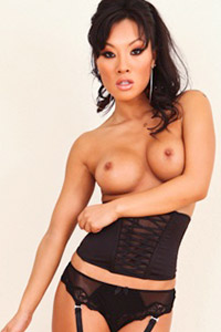 Asa Akira in Black Lingerie and Stockings